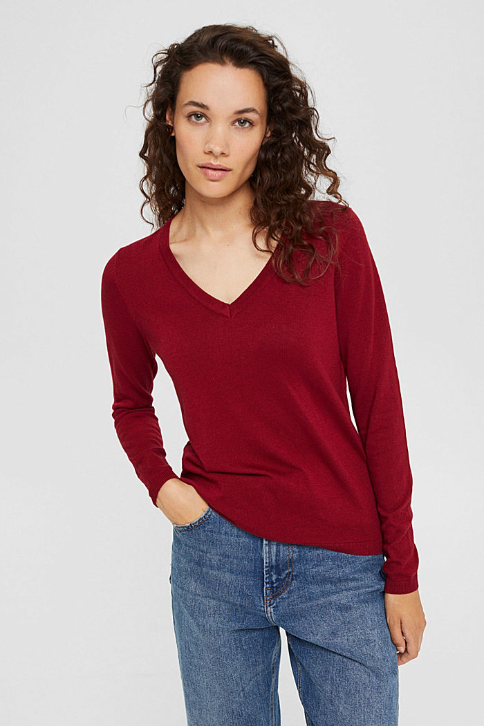 V-neck jumper containing organic cotton, DARK RED, detail image number 0