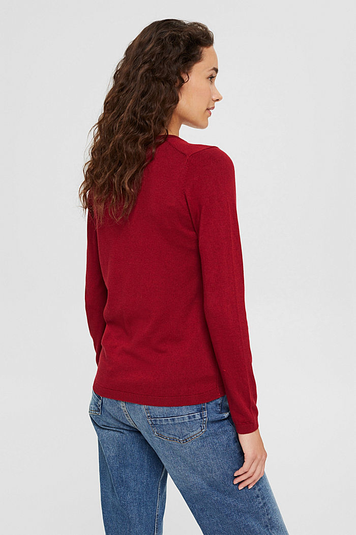 V-neck jumper containing organic cotton, DARK RED, detail image number 3