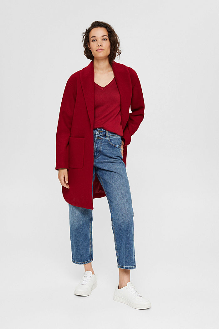 V-neck jumper containing organic cotton, DARK RED, detail image number 1