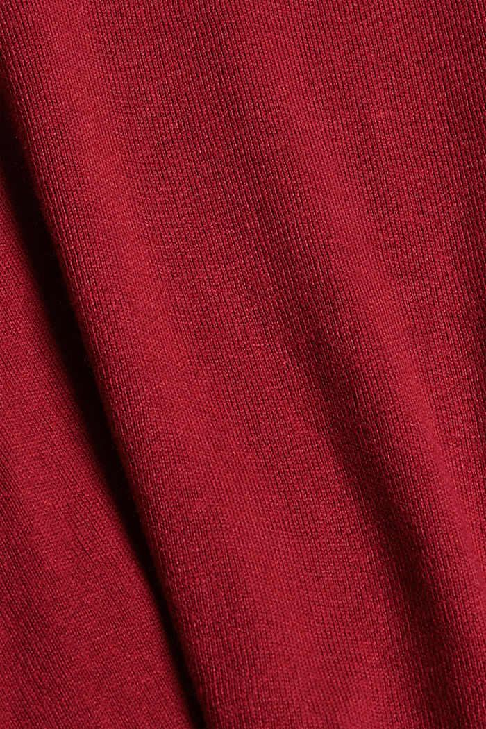 V-neck jumper containing organic cotton, DARK RED, detail image number 4