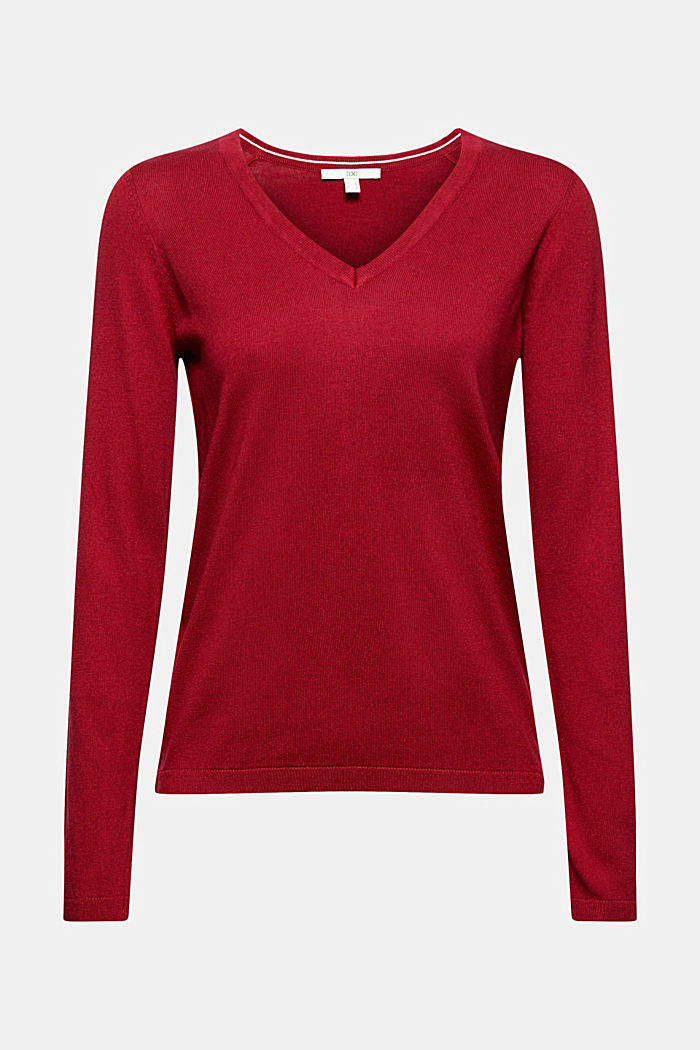 V-neck jumper containing organic cotton, DARK RED, detail image number 5