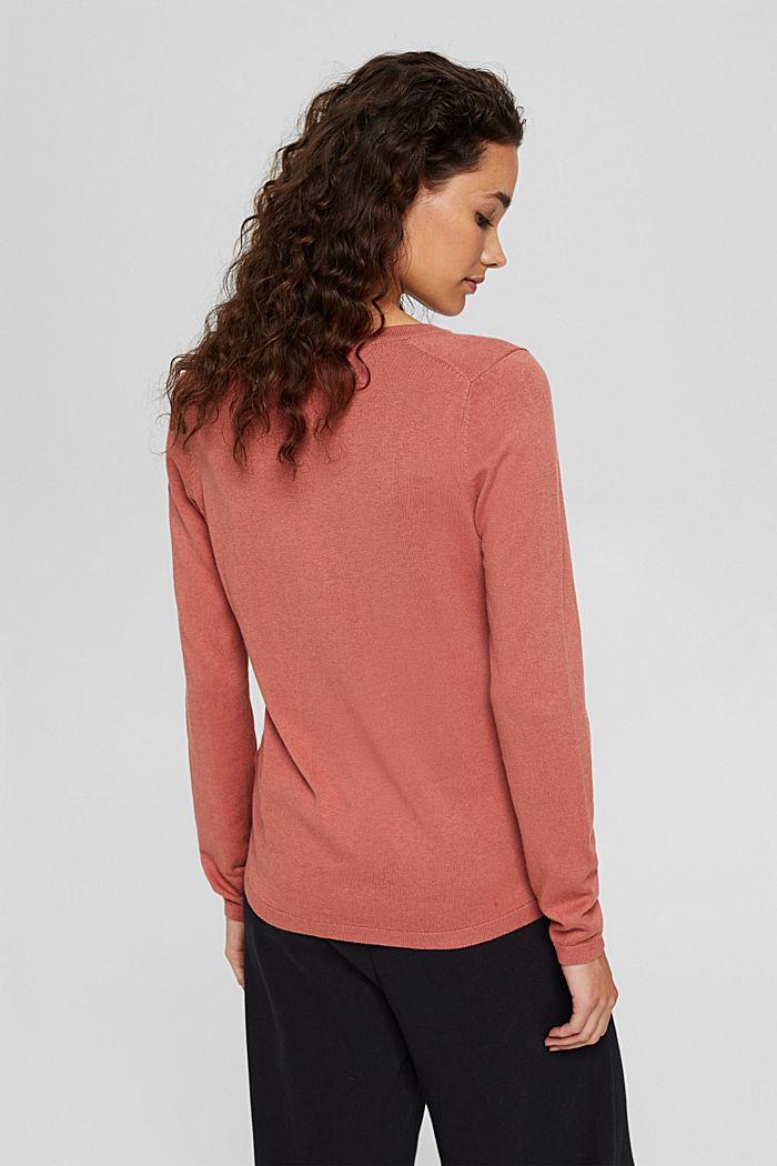 V-Neck-Pullover mit Organic Cotton, CORAL, detail image number 3