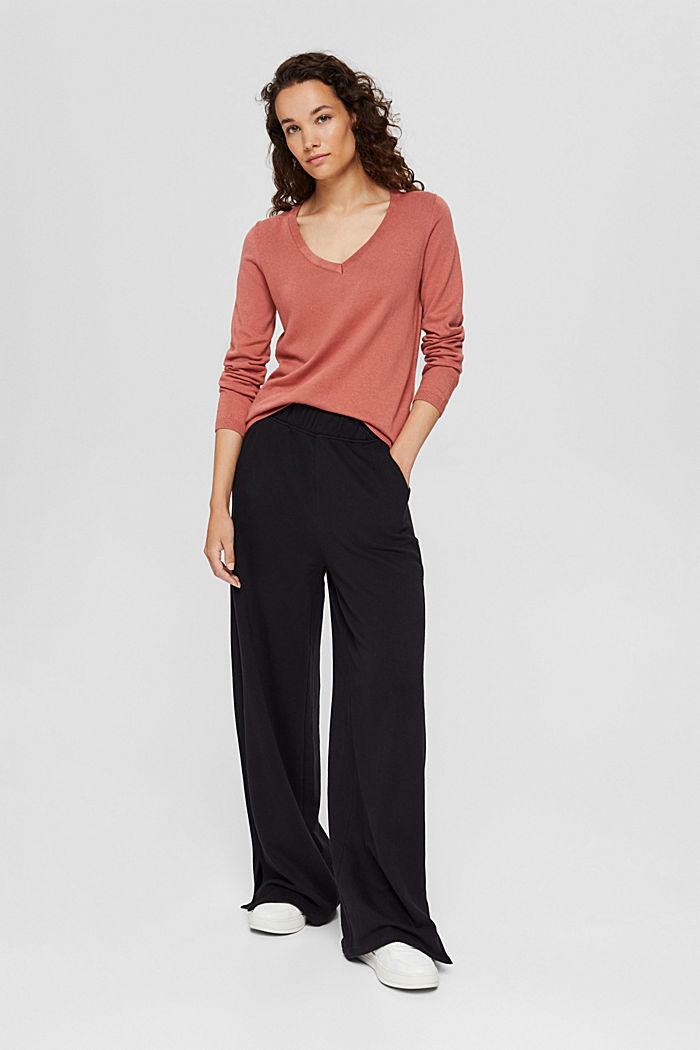 V-Neck-Pullover mit Organic Cotton, CORAL, detail image number 1