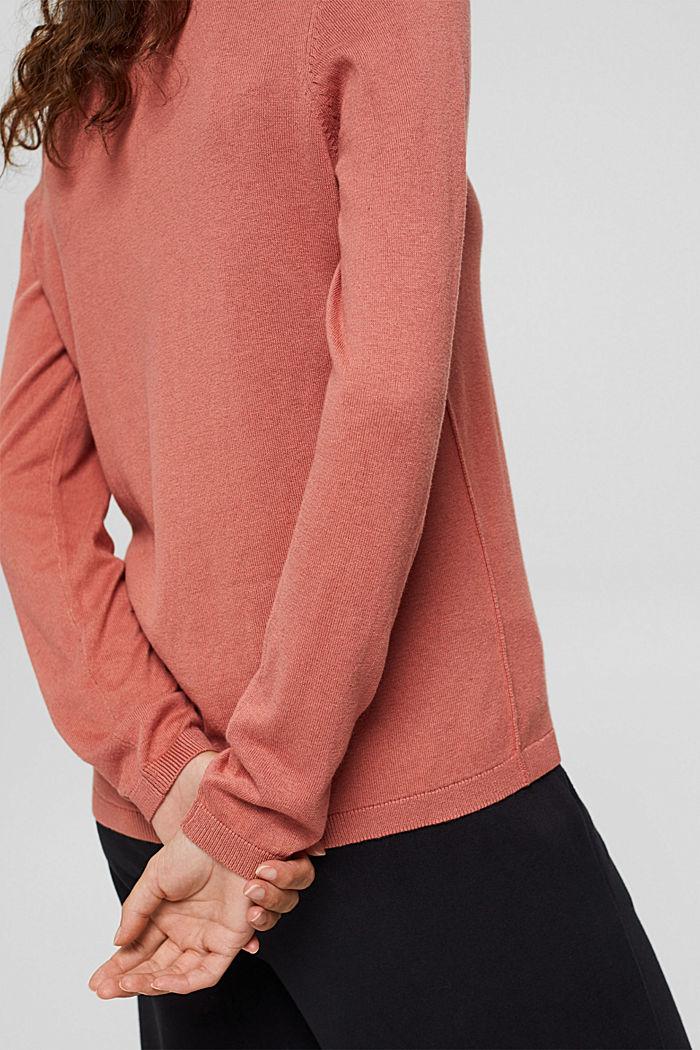 V-Neck-Pullover mit Organic Cotton, CORAL, detail image number 2