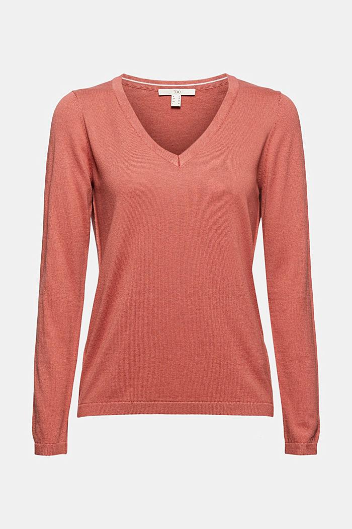 V-Neck-Pullover mit Organic Cotton, CORAL, detail image number 5