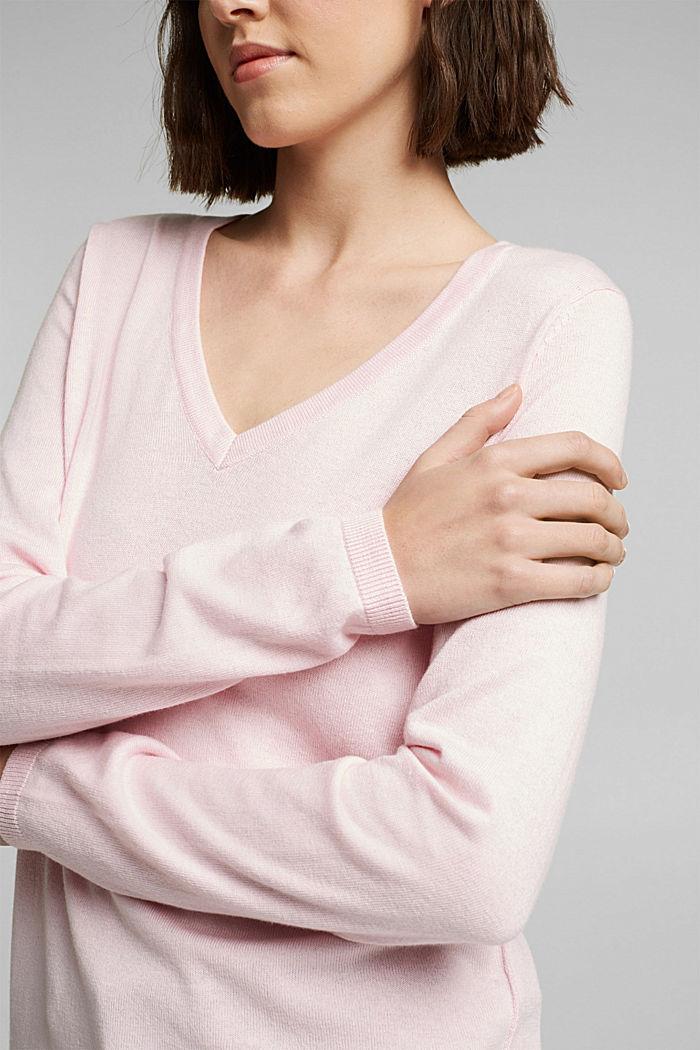 V-neck jumper containing organic cotton, LIGHT PINK, detail image number 2