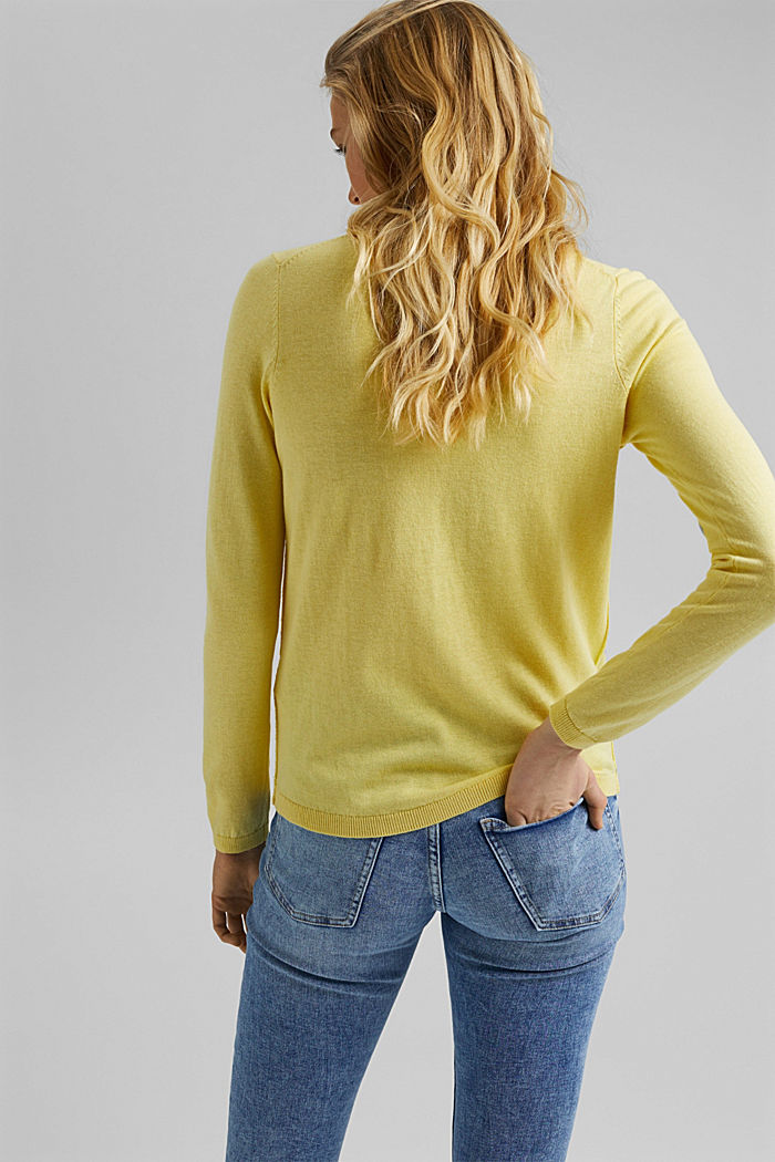 V-neck jumper containing organic cotton, LIGHT YELLOW, detail image number 3