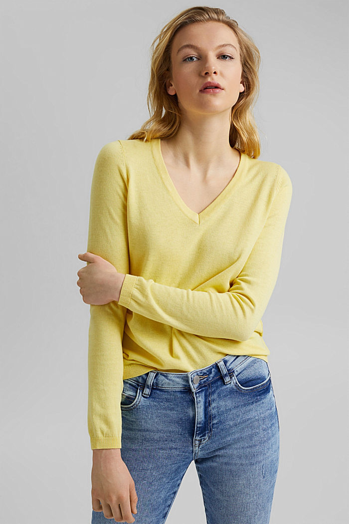 V-neck jumper containing organic cotton, LIGHT YELLOW, detail image number 5