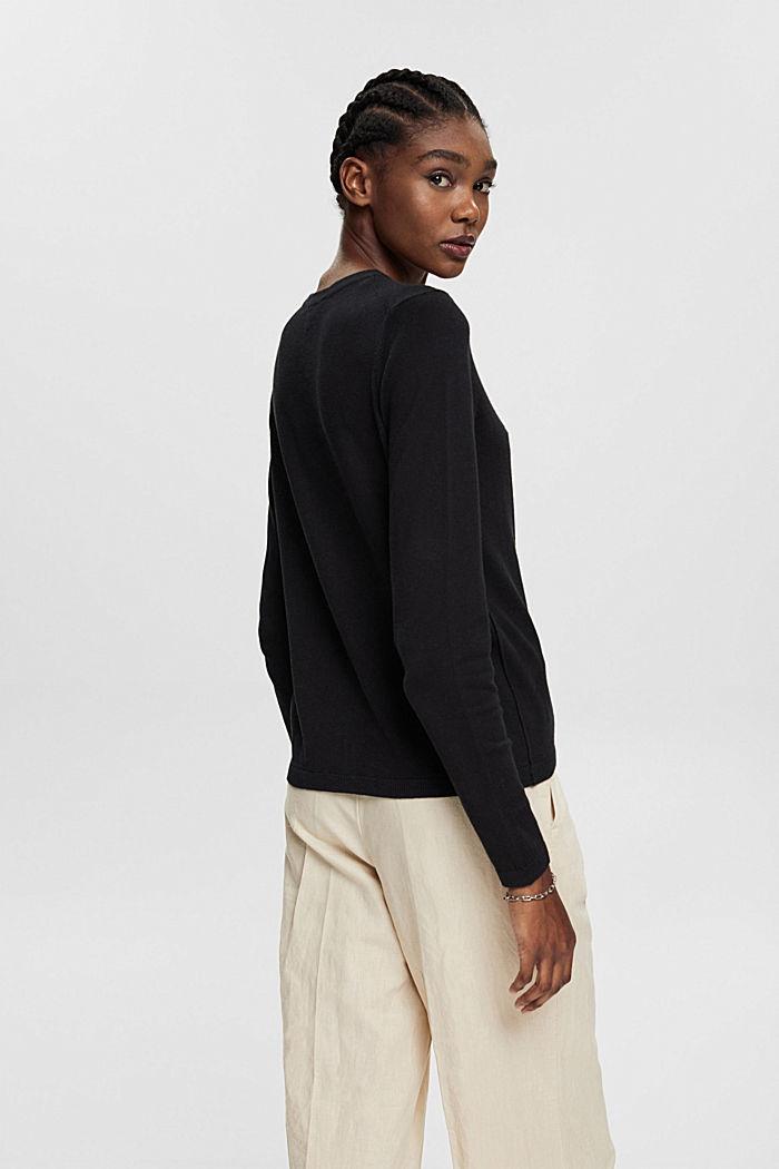 Cárdigan básico con algodón ecológico, BLACK, detail image number 3