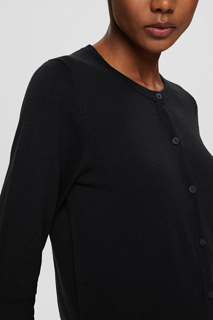 Cárdigan básico con algodón ecológico, BLACK, detail image number 2
