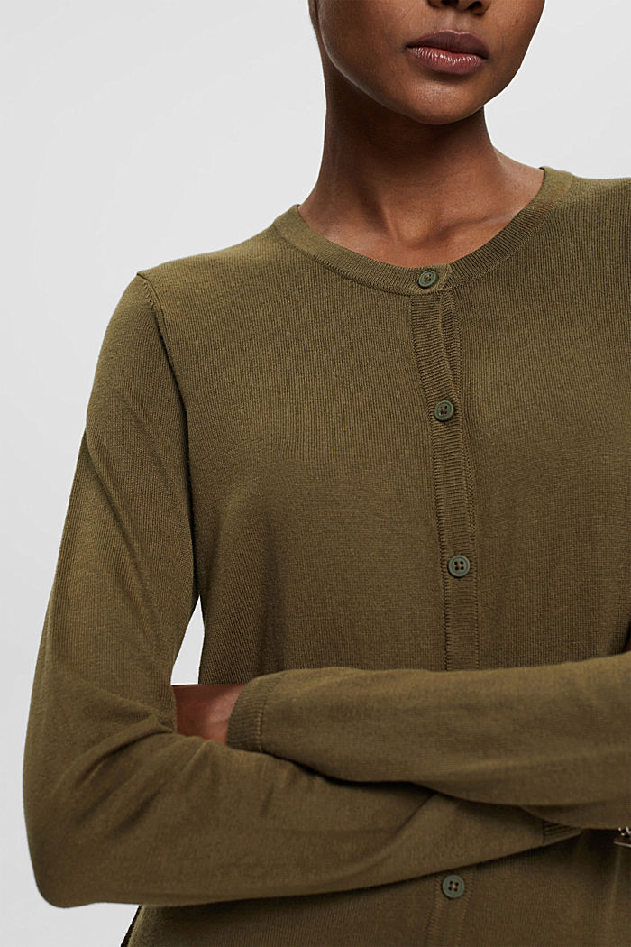 Basic cardigan with organic cotton, KHAKI GREEN, detail image number 2