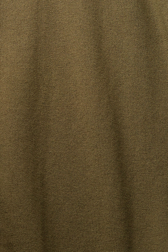Basic cardigan with organic cotton, KHAKI GREEN, detail image number 4