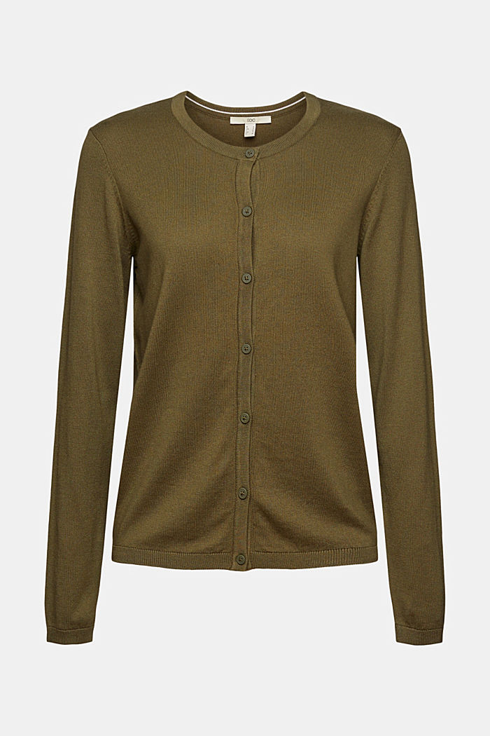 Basic cardigan with organic cotton, KHAKI GREEN, detail image number 5