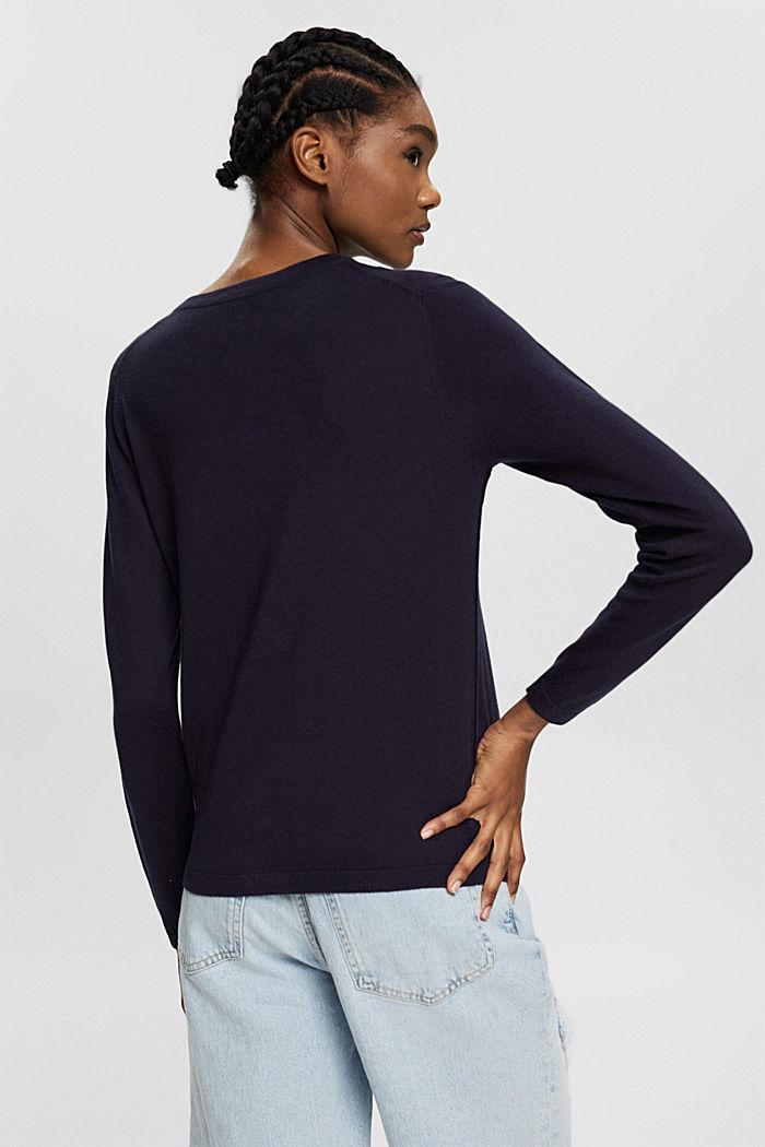 Kardigan z linii basic z bawełną ekologiczną, NAVY, detail image number 3