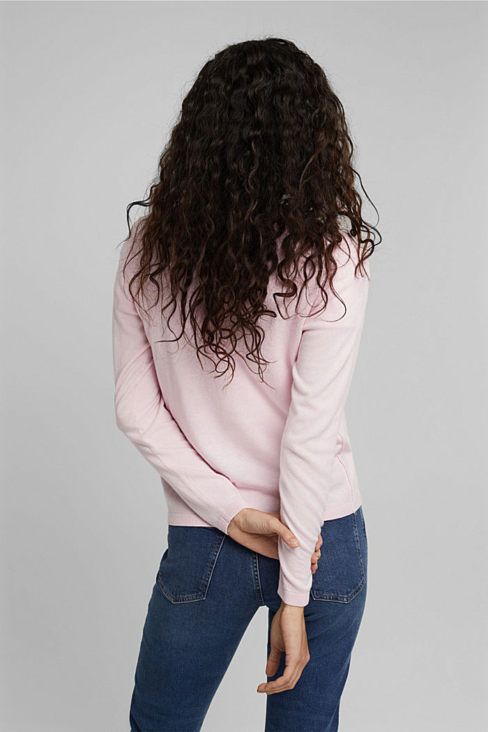 Basic cardigan with organic cotton, LIGHT PINK, detail image number 3