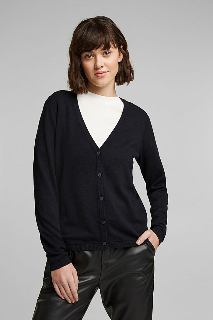 Basic V-neck cardigan with organic cotton, BLACK, detail image number 0