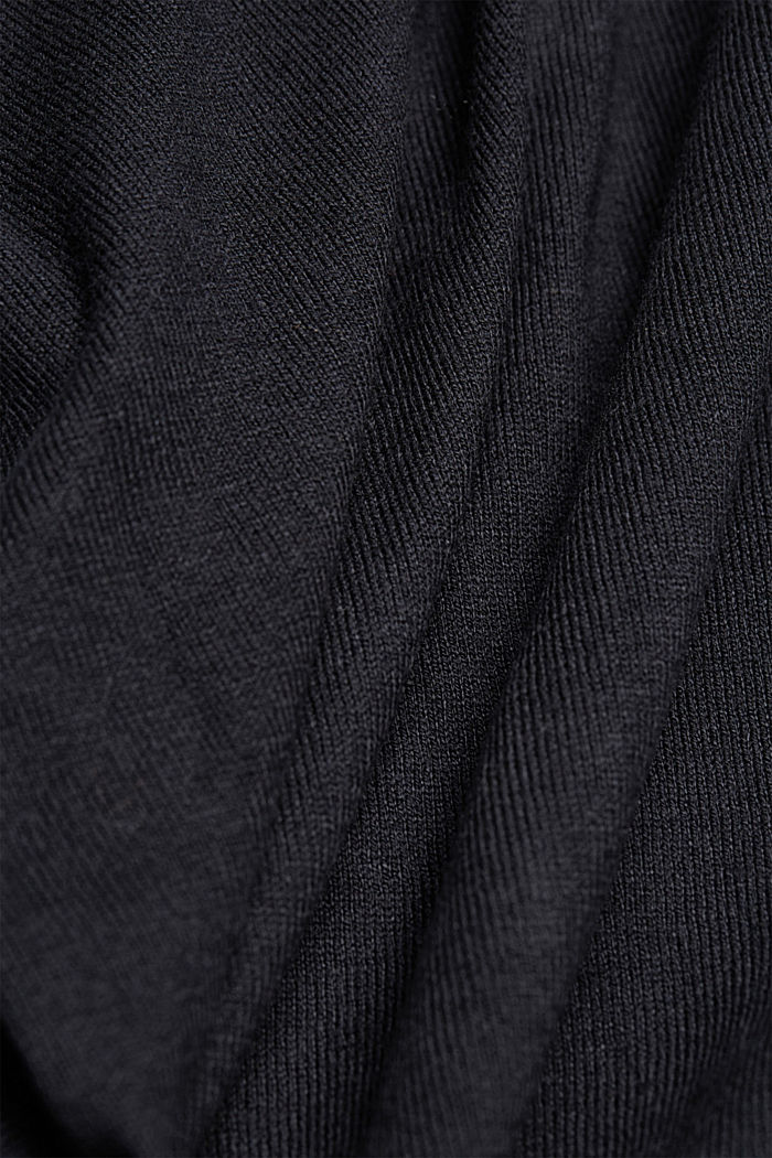Basic V-neck cardigan with organic cotton, BLACK, detail image number 4