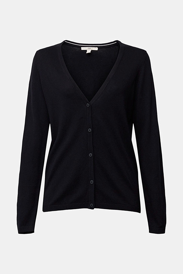 Basic V-neck cardigan with organic cotton, BLACK, overview