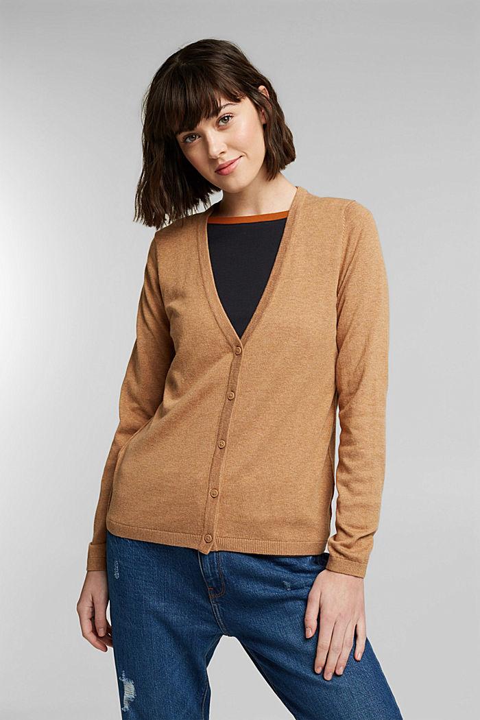 Basic V-neck cardigan with organic cotton, CARAMEL, detail image number 0