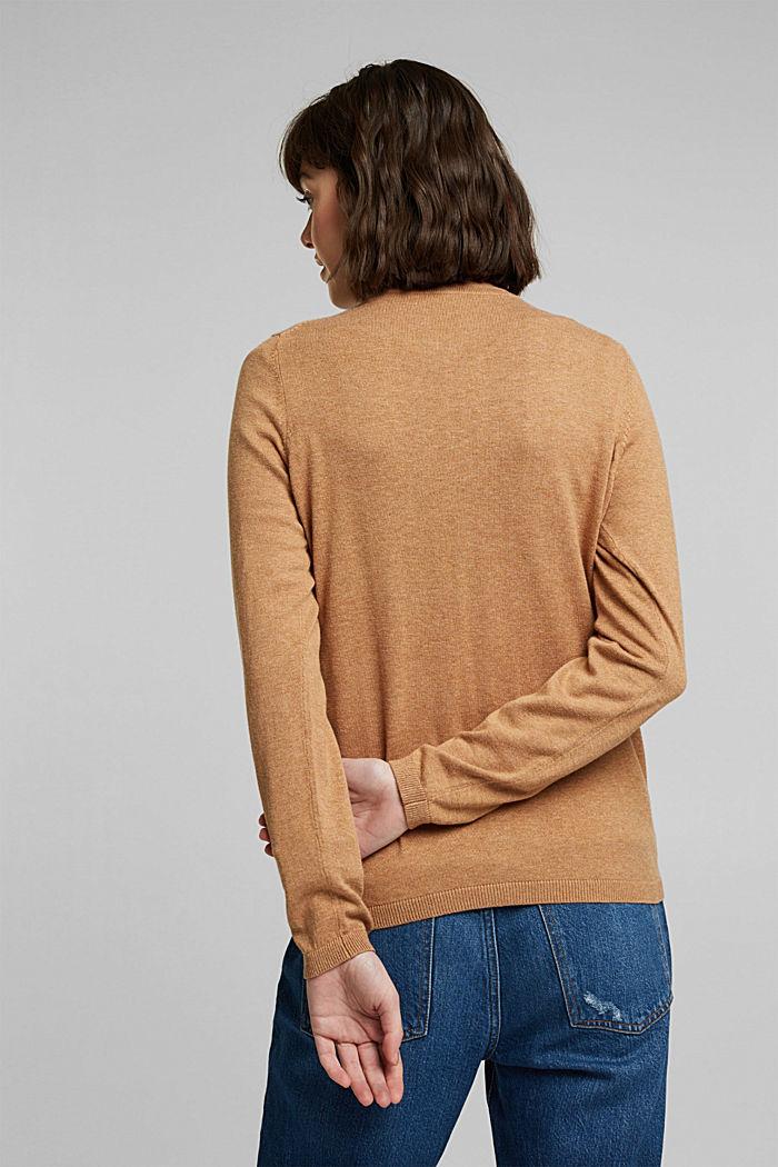 Basic V-neck cardigan with organic cotton, CARAMEL, detail image number 3