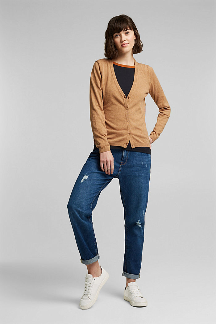 Basic V-neck cardigan with organic cotton, CARAMEL, detail image number 1