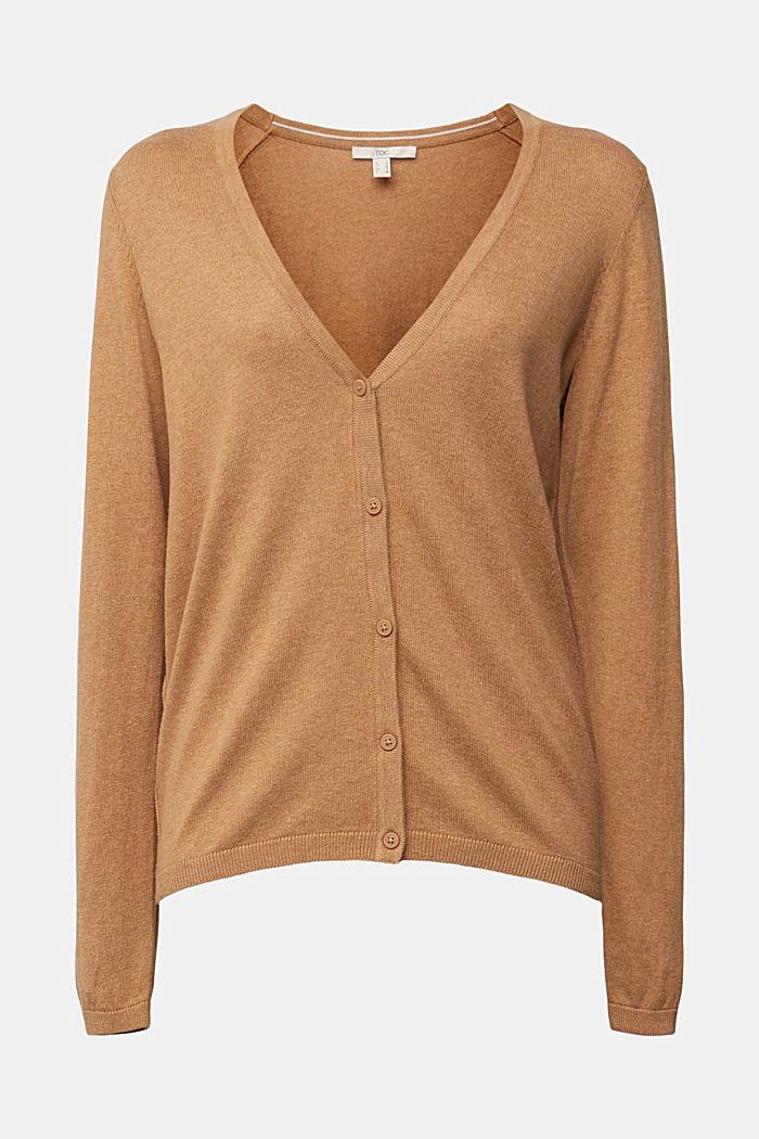 Basic V-neck cardigan with organic cotton, CARAMEL, detail image number 6