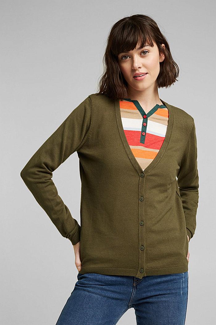 Basic V-Neck-Cardigan mit Bio-Baumwolle, KHAKI GREEN, detail image number 0