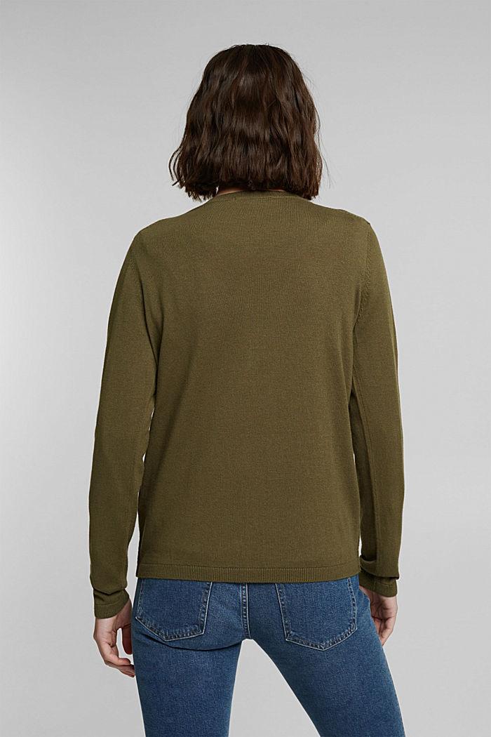Basic V-Neck-Cardigan mit Bio-Baumwolle, KHAKI GREEN, detail image number 3