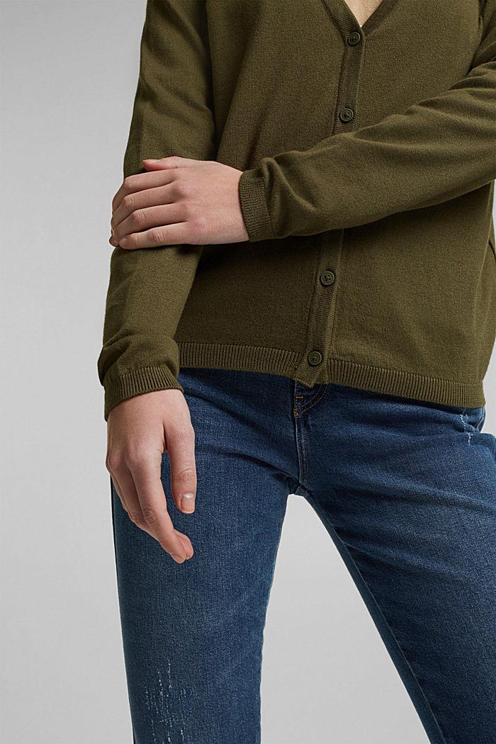 Basic V-Neck-Cardigan mit Bio-Baumwolle, KHAKI GREEN, detail image number 2