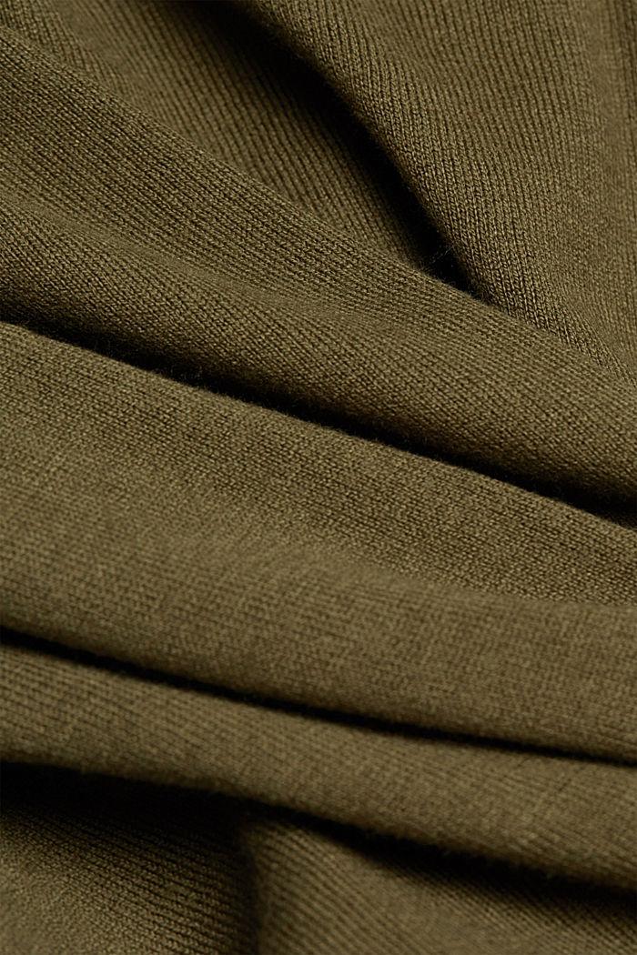 Basic V-Neck-Cardigan mit Bio-Baumwolle, KHAKI GREEN, detail image number 4