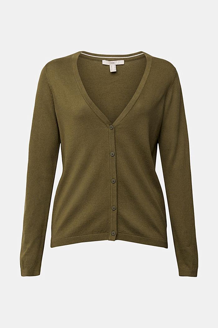 Basic V-Neck-Cardigan mit Bio-Baumwolle, KHAKI GREEN, detail image number 6
