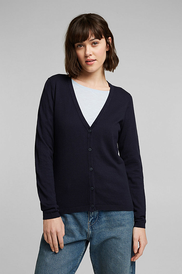 Basic V-neck cardigan with organic cotton, NAVY, detail image number 0