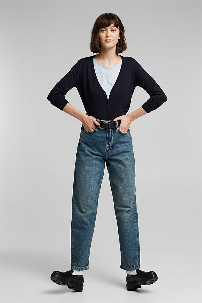Basic V-neck cardigan with organic cotton, NAVY, detail image number 1