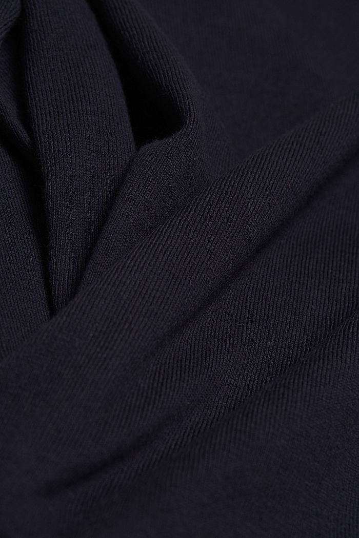 Basic V-neck cardigan with organic cotton, NAVY, detail image number 4