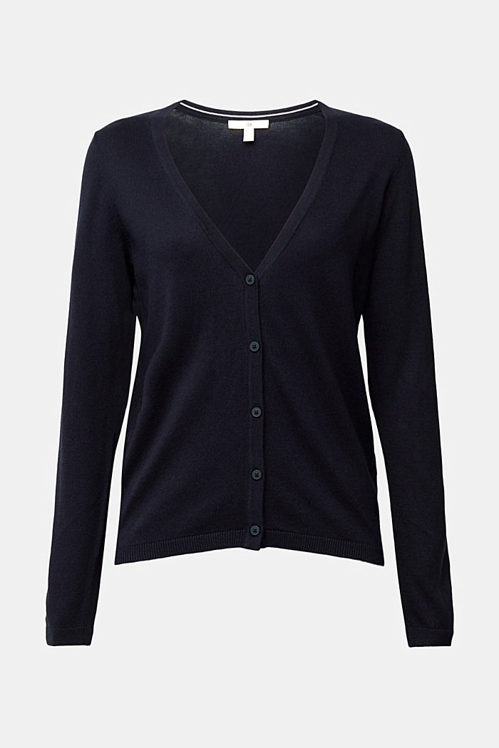 Basic V-neck cardigan with organic cotton, NAVY, detail image number 5