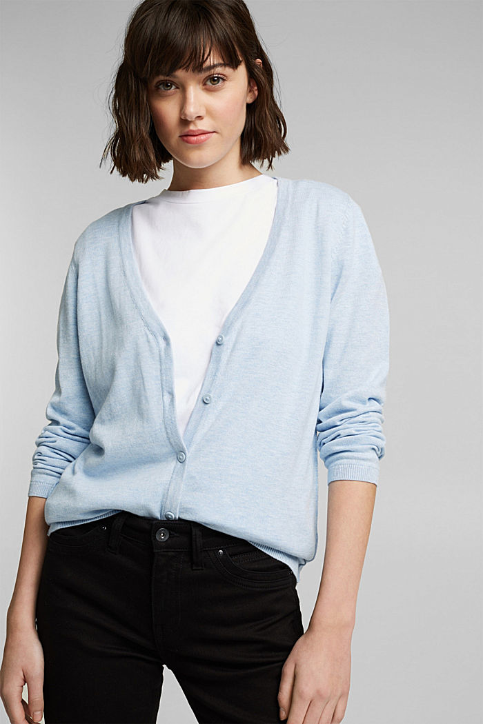 Basic V-neck cardigan with organic cotton, LIGHT BLUE LAVENDER, detail image number 0