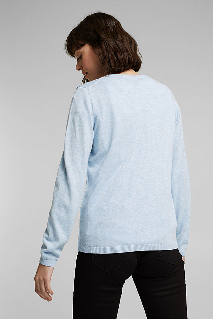 Basic V-neck cardigan with organic cotton, LIGHT BLUE LAVENDER, detail image number 3