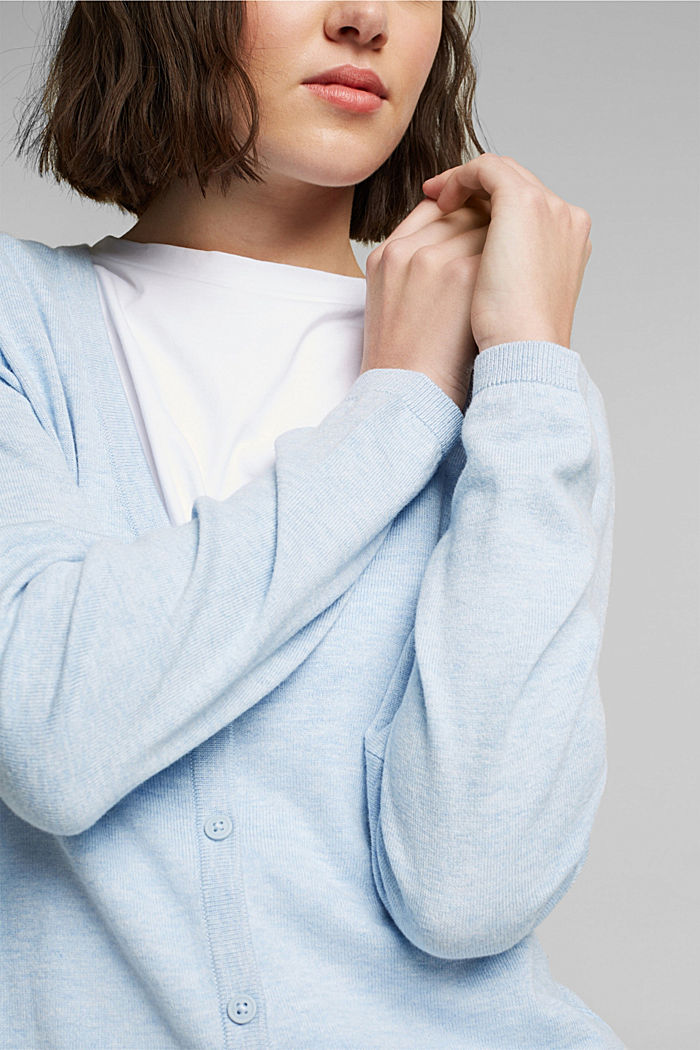 Basic V-neck cardigan with organic cotton, LIGHT BLUE LAVENDER, detail image number 2