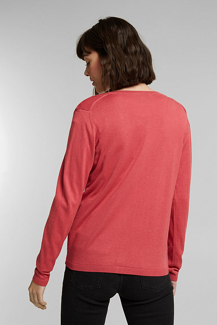 Basic V-neck cardigan with organic cotton, BLUSH, detail image number 3