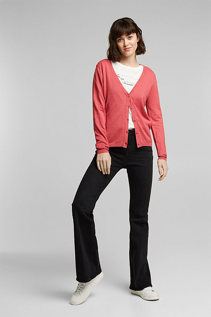 Basic V-neck cardigan with organic cotton, BLUSH, detail image number 1