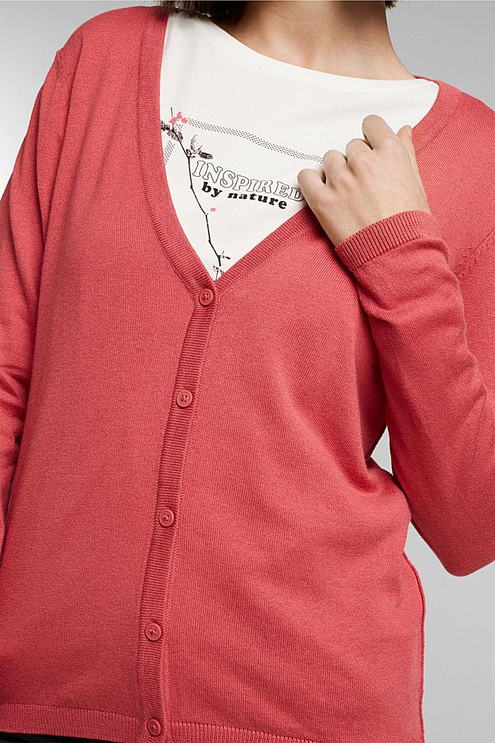 Basic V-neck cardigan with organic cotton, BLUSH, detail image number 2