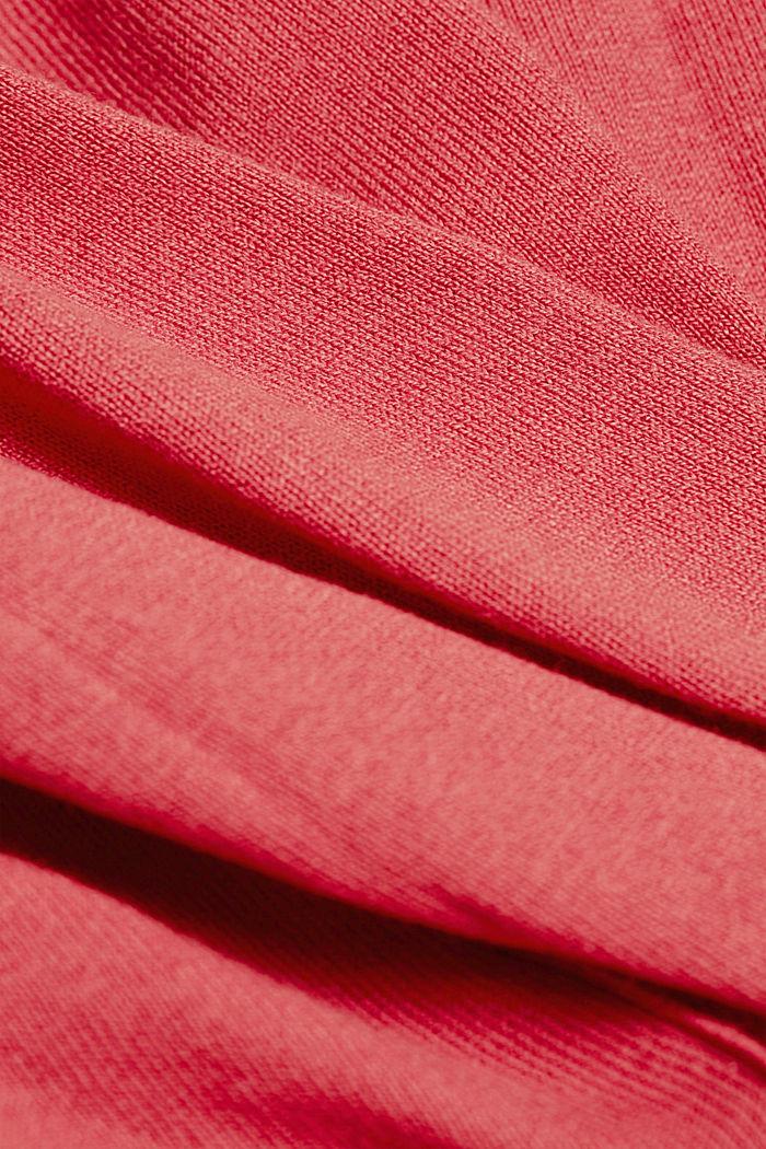 Kardigan basic z wycięciem w serek i bawełną ekologiczną, BLUSH, detail image number 4
