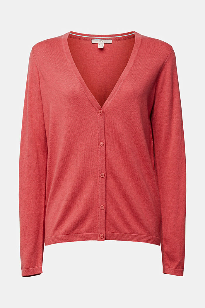 Basic V-neck cardigan with organic cotton, BLUSH, overview