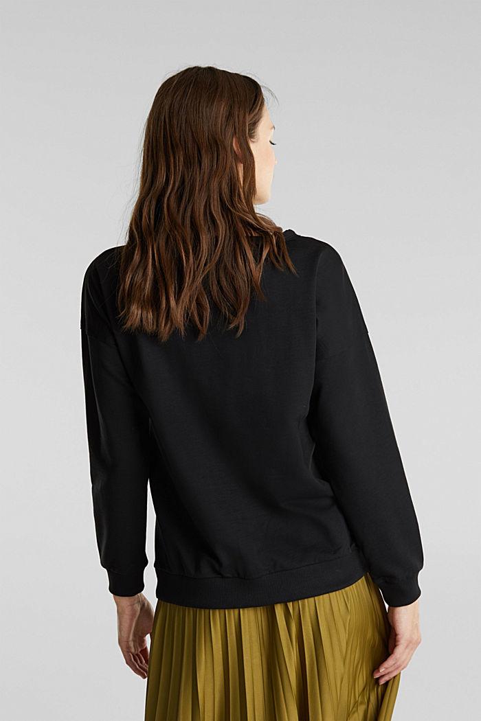 Organic cotton sweatshirt, BLACK, detail image number 2