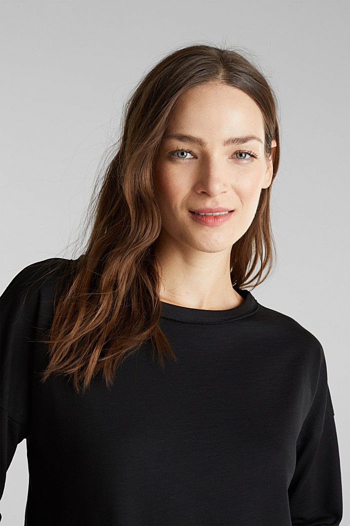 Organic cotton sweatshirt, BLACK, detail image number 4