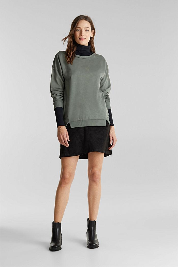 Sweat-shirt à teneur en coton biologique, KHAKI GREEN, detail image number 1