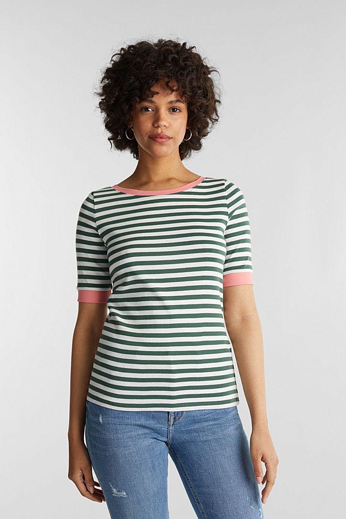 Joustin-t-paita 100 % puuvillaa, KHAKI GREEN, detail image number 0