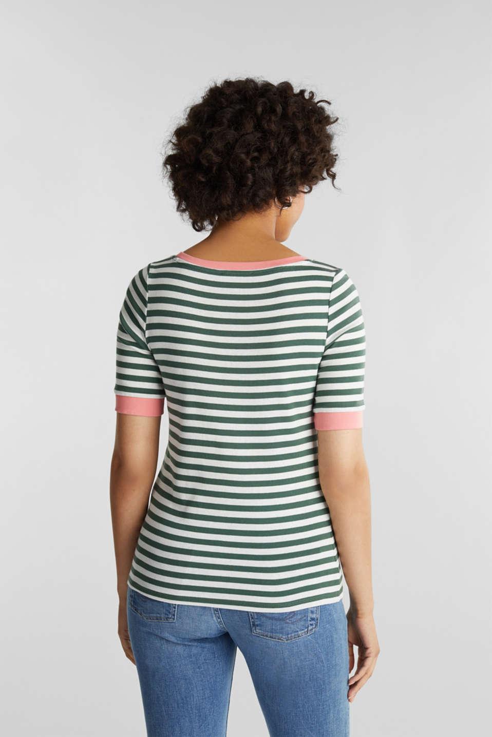 Striped ribbed T-shirt, 100% cotton, KHAKI GREEN, detail image number 3