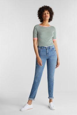 Striped ribbed T-shirt, 100% cotton, KHAKI GREEN, detail