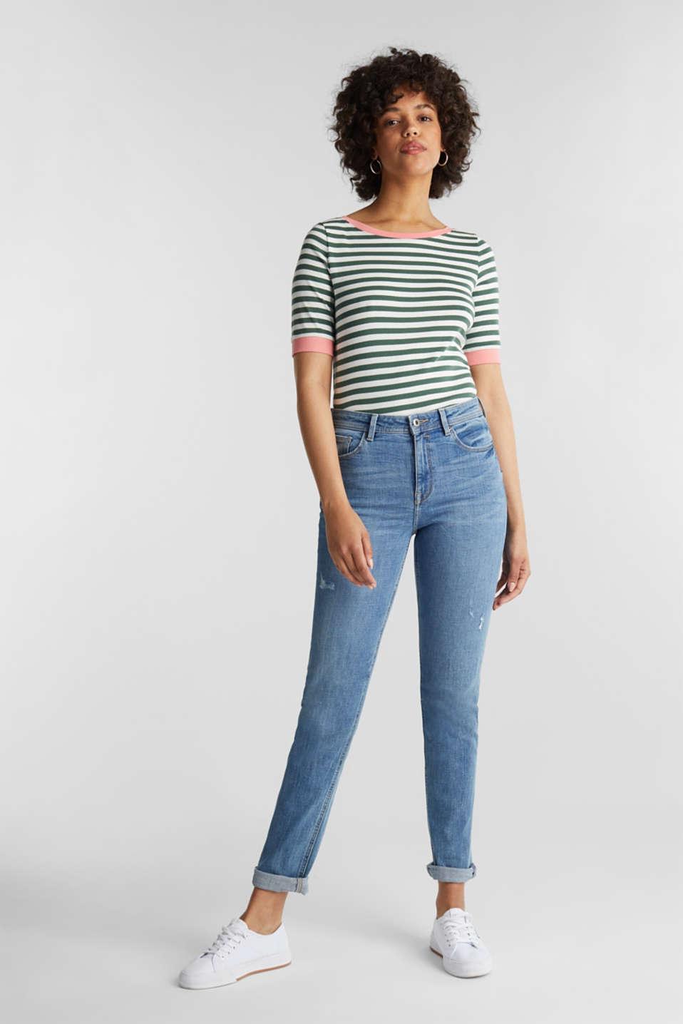 Striped ribbed T-shirt, 100% cotton, KHAKI GREEN, detail image number 1